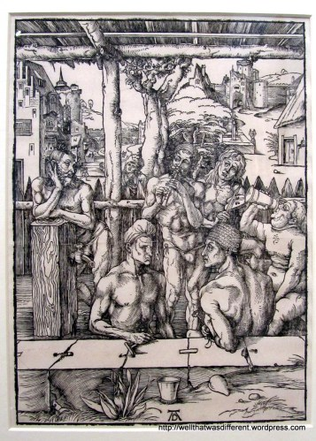 Durer drew naked men in a bathhouse.