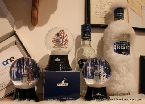 Promotional vodka snow globes.