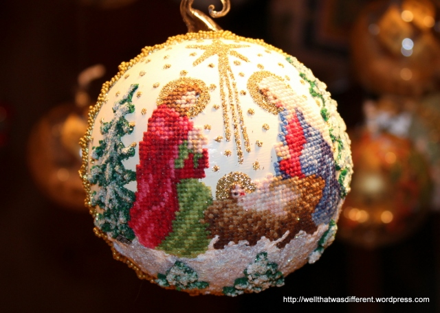 Incredible handmade petit point ornaments.