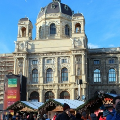 The Museumsquartier Advent market is definitely one of the schlockier markets, but it is still pretty on a rare sunny day. And there is gluhwein.