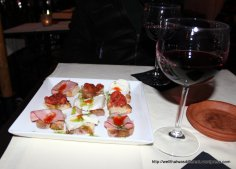 Good wine bars serve a snack with the wine--both the wine and the bruschetta were wonderful