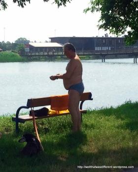No bathing suit? No problem. Undies will do.