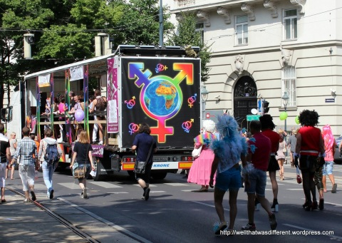 Back of a rainbow party truck.