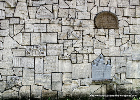 The Old Jewish Cemetery--wall faced with broken tombstones