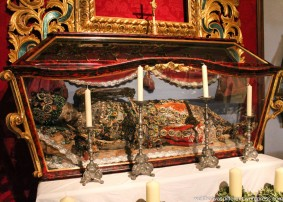 They dug this poor saint up from the Roman catacombs, shipped him to Cesky Krumlov, and then made a convent full of nuns decorate his bones.