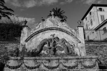 The Villa-fountain in the garden.