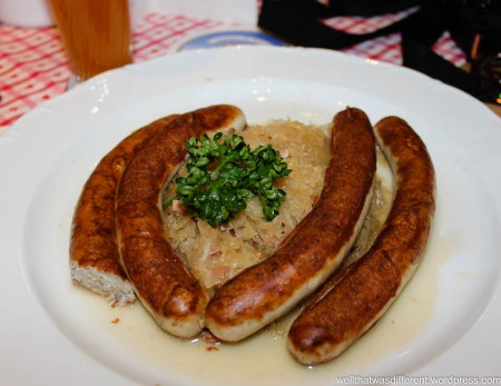 Sausages and kraut  for lunch.