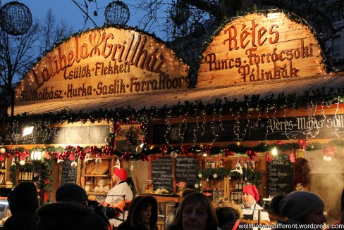 Food stands at the main Christmas market.