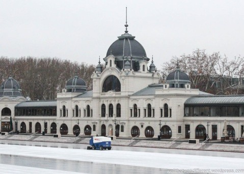 One of the famous thermal baths. This one has been turned into a skating rink for the winter.