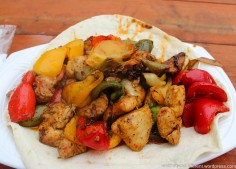 Chicken kebabs with peppers, yum!