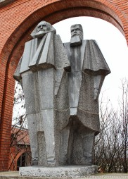 At Memento Park: Marx and Engels.