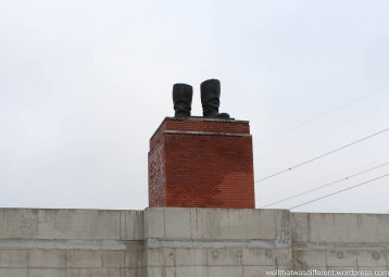 Stalin's boots. The rest of the statue was cut down in the 1956 uprising against the Soviets.