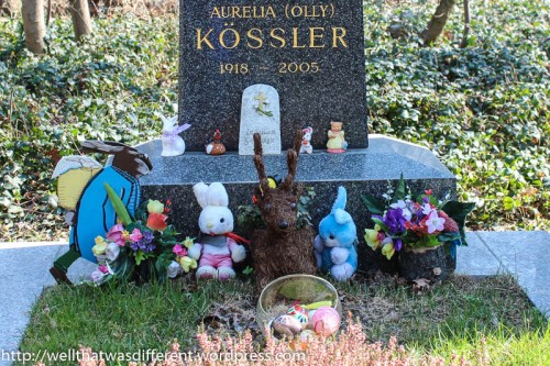 Easter decorations--even dead people have lawn ornaments in Austria!