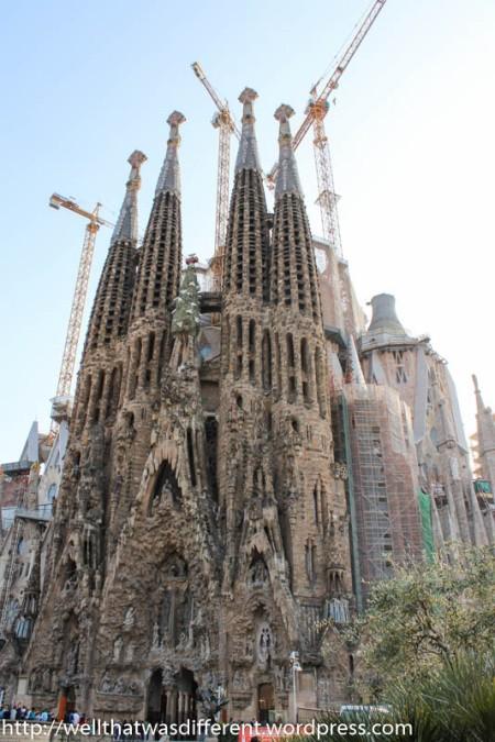 From a distance, Sagrada Familia looks like a big sand castle.