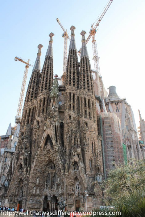 From a distance, Sagrada Familia looks like a big sand castle.