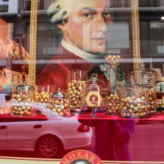 Mozart looms over Stephansplatz.