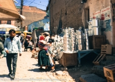 In the market area--lots of tin items for sale because tin is mined in Bolivia.