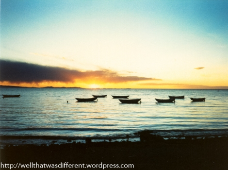 Totora boats and sunset.