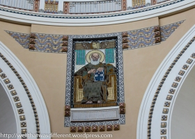 Saint at the bottom of the dome.
