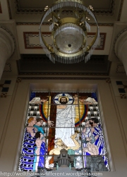 The stained glass is mostly original.