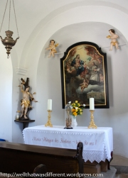 Inside the little chapel at the bottom