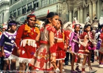 School girls dresses as indigenas