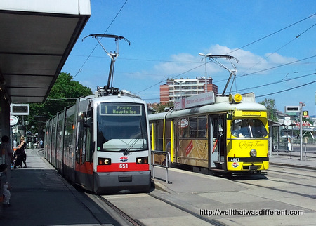 Regular tram and the Ring Tram, which takes elderly tourists around downtown.