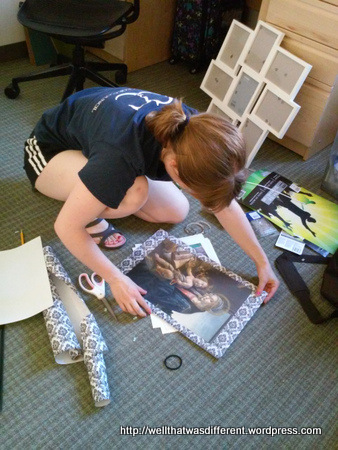 Craft project: matting a collection of prints in poster frames with toile wrapping paper.