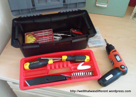 I gave Rachel this toolkit for her freshman year, and topped it off with an electric screwdriver for grad school. She says best idea ever :)