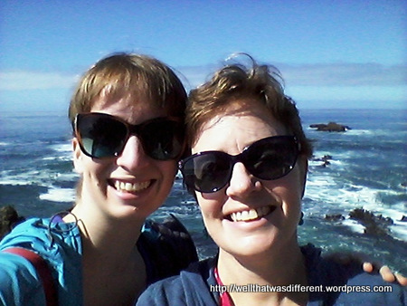 Smiling because we just saw WHALES!