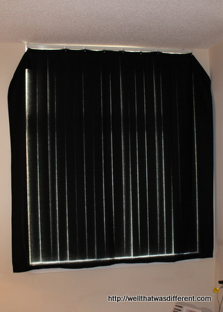 A black shower curtain hung up with Command hooks for our east-facing bedroom window. Pure class.