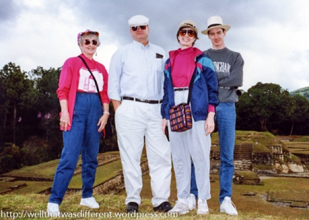 Best family photo ever, on top of a Mayan temple at Iximche