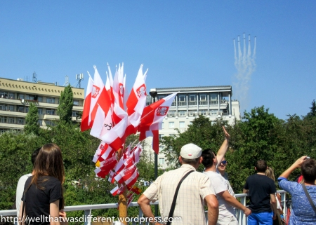 Polish flags everywhere while watching the flyovers.