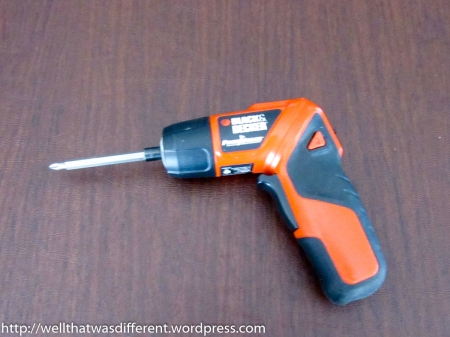 $20 Black and Decker screwdriver with an extra-long attachment.