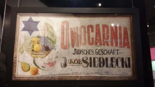 Fruit seller's sign marked by the Nazis as a Jewish merchant. Because Jewish fruit?