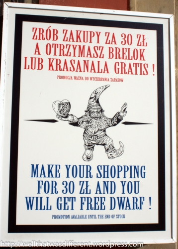 Poster at the Dwarf gift shop featuring Wroclovek.