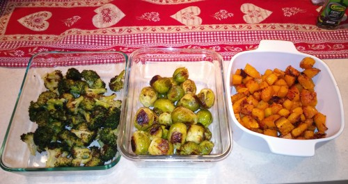 Broccoli, Brussels sprouts, butternut squash.