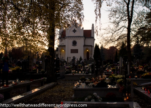 The sun sets and the cemetery starts to glow.