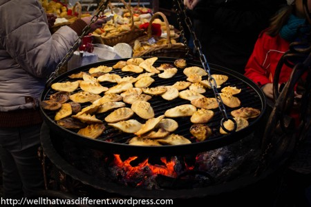 At the market, it is heated up over coals and served with a dollop of fruit jam on top.