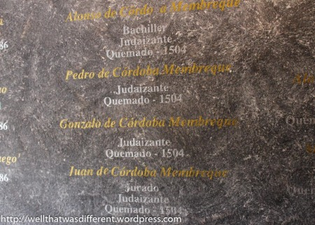 The walls of the Sephardic history museum are covered with the names of Jews who were burned by the Inquisition.