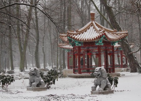 The Chinese pavilion needs to be enjoyed in color.