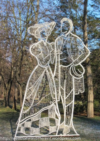 One of many light sculptures in the park.