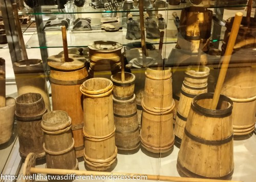 And finally, a big room chock-full of handmade farm implements. I liked these butter churns.