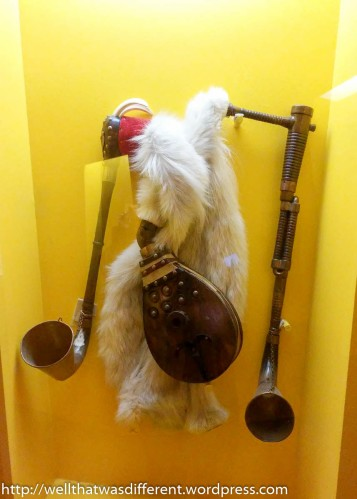 A room full of musical instruments. This is a koziel, a sort of Polish goatskin bagpipe.
