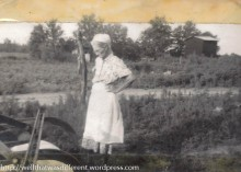 My great-grandmother, Palma Lee Lashley Bembry, on her farm.