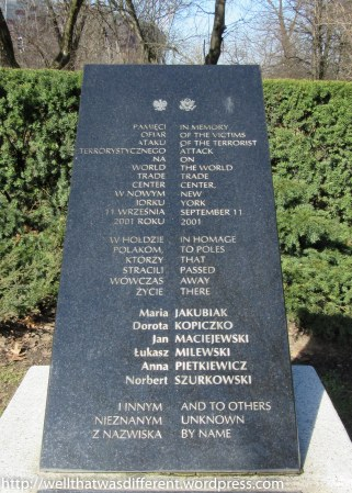 A monument to Polish victims of the 9-11 attacks in New York.