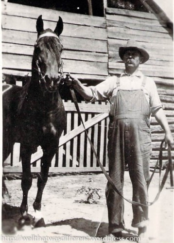 My great-great grandfather, Stephen Alonzo Cole, and his favorite horse.