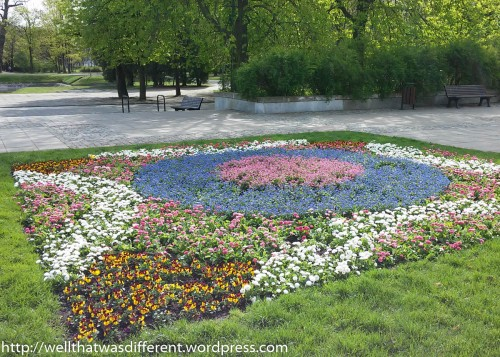 A mosaic of annuals at Lazienka Park.