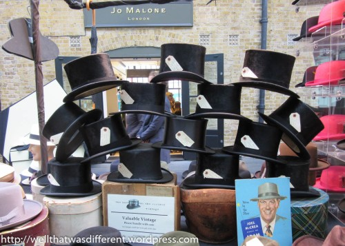 A hatmaker sold these top hats as well as some really nice ladies' hats. None of which looked good on me ):