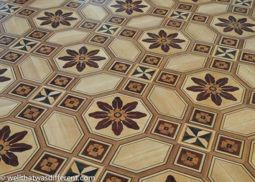 I was personally impressed that anyone would install all these beautiful mosaic wood inlay floors in a bath house, even on the second floor.